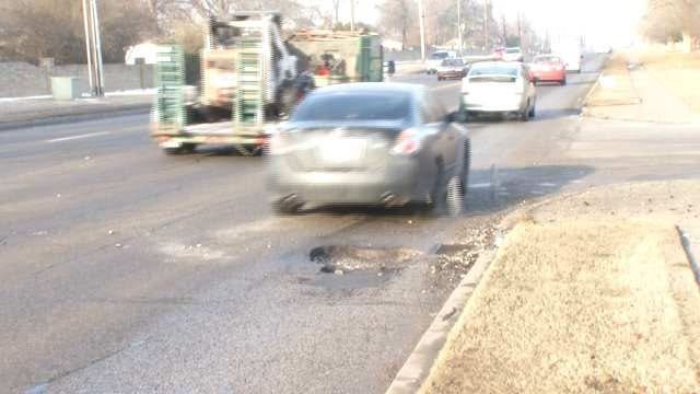WEB EXTRA: Video Of Tulsa Pothole On 51st Street At 72nd East Avenue