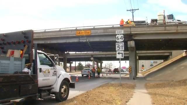 WEB EXTRA: Video From Broken Arrow Expressway Bridge Over Lewis