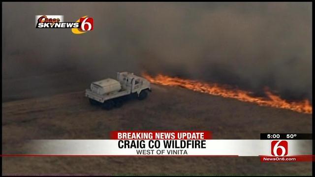 Grassfire Engulfs Craig County Farmland; Bales Of Hay Go Up