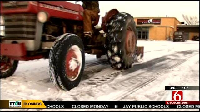 Crews Clear 5 Inches Of Snow In Bartelsville In Bone-Chilling Temps