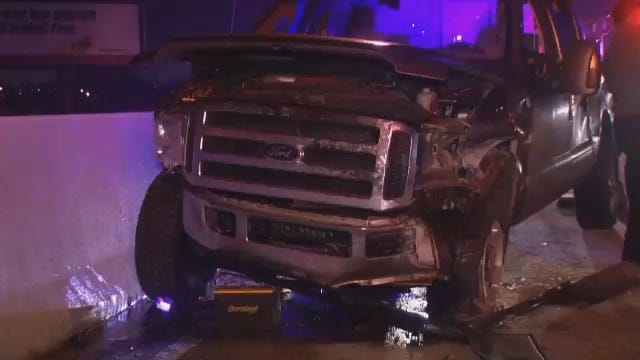 WEB EXTRA: Video From Scene Of Pickup Truck Crash On I-244