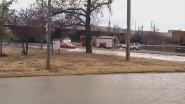 WEB EXTRA: Tulsa Firefighters Help Motorist From Stalled Car
