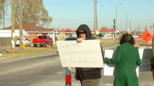 WEB EXTRA: Protesters Outside Walmart On Memorial Near Admiral