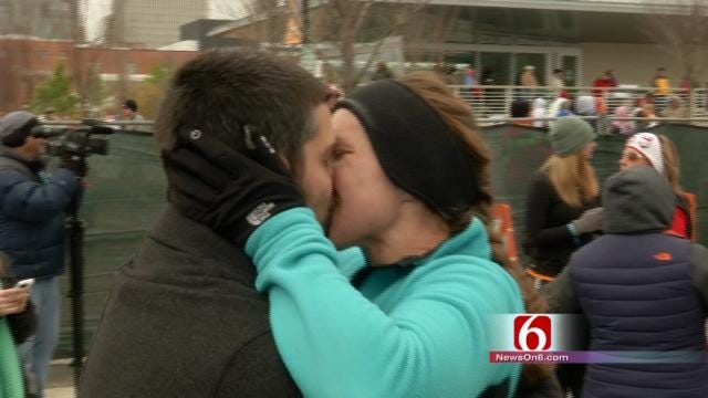 Tulsa Route 66 Runner Greeted With Finish Line Proposal