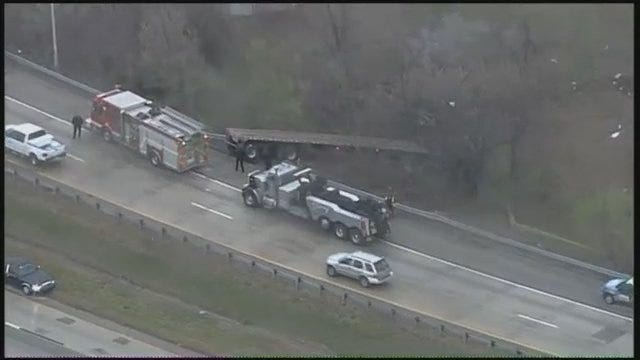 WEB EXTRA: Video From SkyNews6 Of Crashed Semi On U.S. Highway 75 In Tulsa