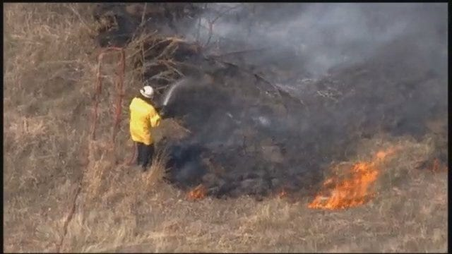 WEB EXTRA: View Of Creek County Grass Fire From SkyNews6