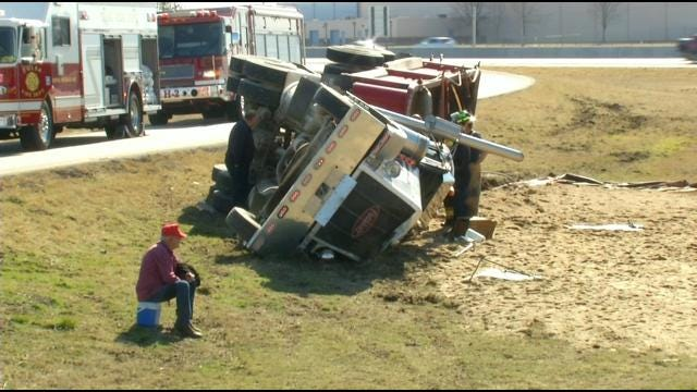 Truck Wreck Leaves Sandy Mess Next To Highway 169 In Tulsa