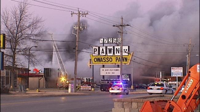 Owasso Fire Crews Battle Large Commercial Fire