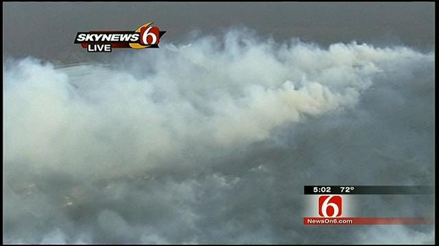 Wind Drives Smoke From Rural Bixby Fire To Tulsa