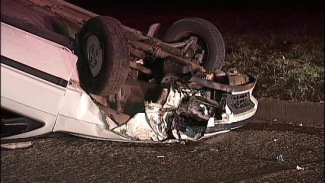 WEB EXTRA: Video From Scene Of North Tulsa Rollover Crash