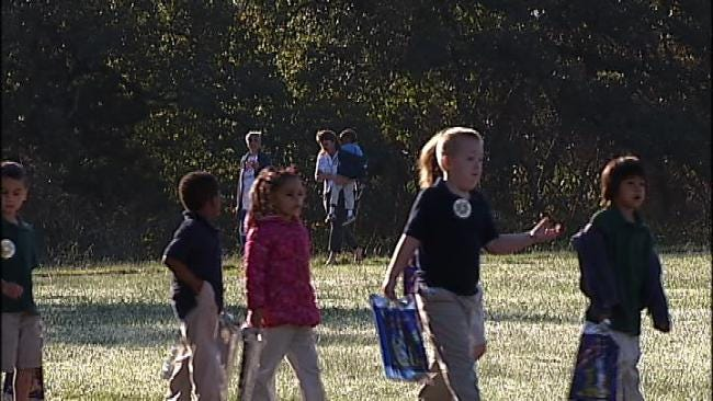 WEB EXTRA: Video Of Students, Parents And Staff At Remington Elementary In Tulsa Walking To School