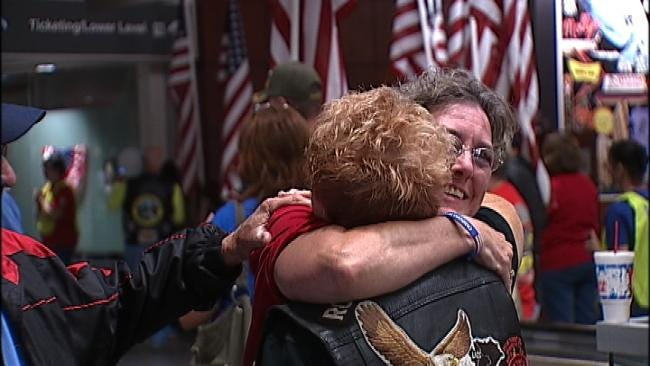 WEB EXTRA: Video From Tulsa International Airport As Veterans Returned Home