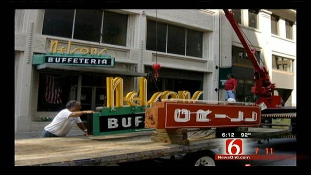 Renovated Nelson's Buffeteria Sign To Hang In New Home