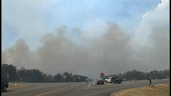WEB EXTRA: Scenes From Mannford-Area Wildfire