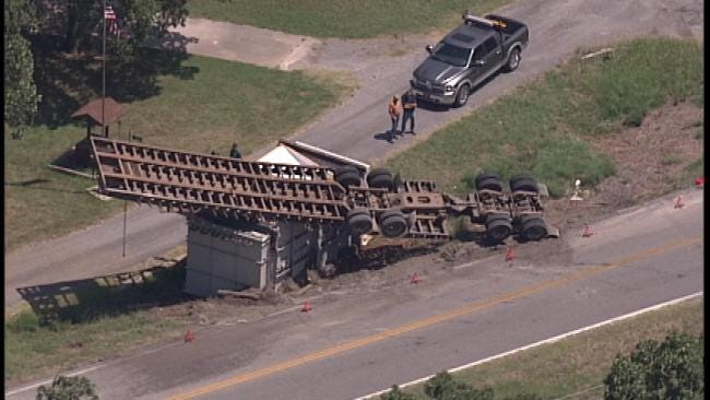 WEB EXTRA: Sky News 6 Flies Over Wide Load Truck Overturned On Highway 412