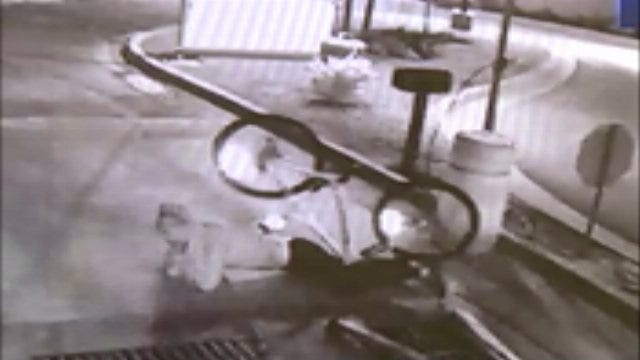 WEB EXTRA: Surveillance Video Of Thief Wrecking On Stolen Bicycle