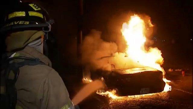 WEB EXTRA: Burning Camaro At Riverside Park