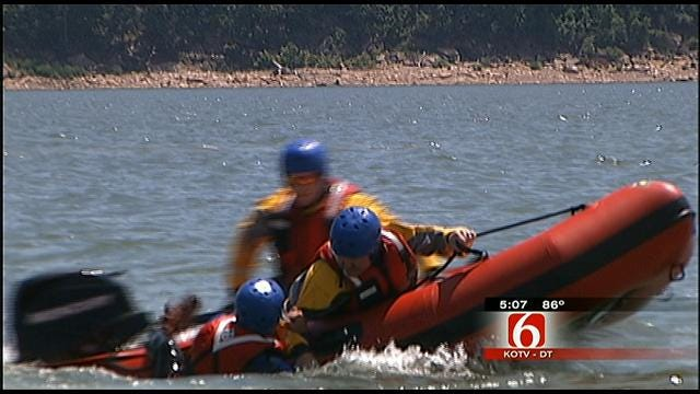 Emergency Workers Practice Water Rescue On Skiatook Lake