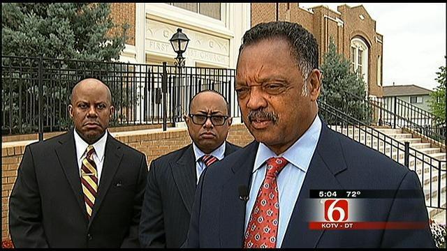 Rev. Jesse Jackson Attends Funeral of North Tulsa Shooting Victim