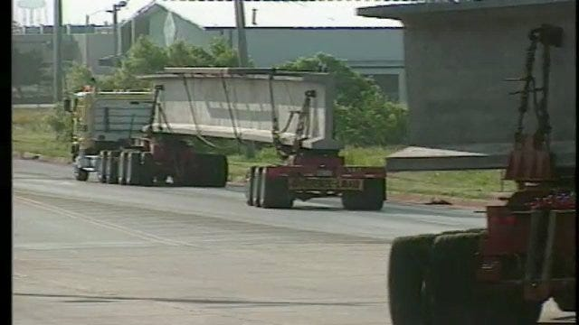 I-40 Beams Arrive At Construction Site