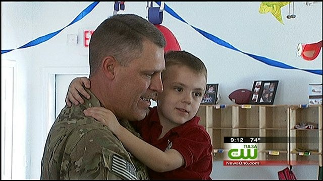 Soldier Dad Surprises 4-Year-Old Son At Claremore School