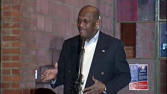 WEB EXTRA: Herman Cain Sings America The Beautiful During Stop In Tulsa