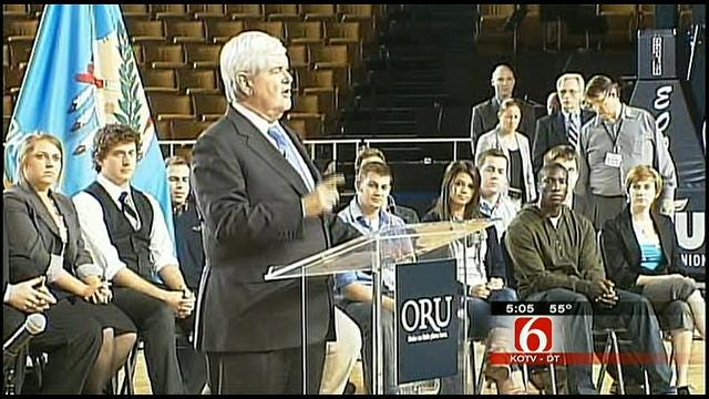 Republican Presidential Hopeful Newt Gingrich Visits Mabee Center