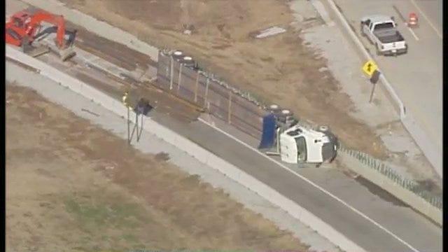WEB EXTRA: Truck Rollover Crash Shuts Down Portion Of Tulsa's Inner Dispersal Loop