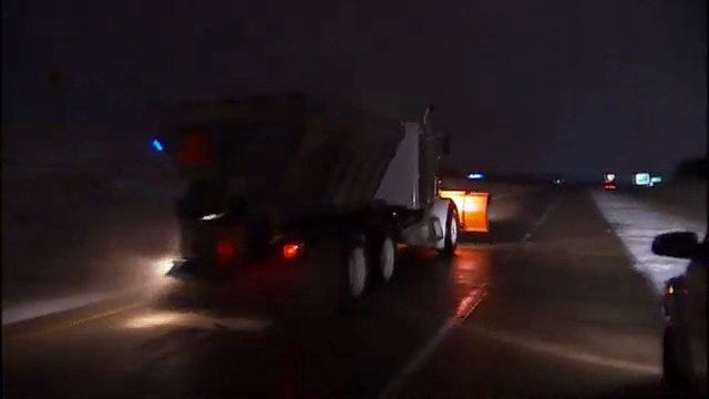 WEB EXTRA: Video Of Sand Trucks On Tulsa Area Highways Early Monday