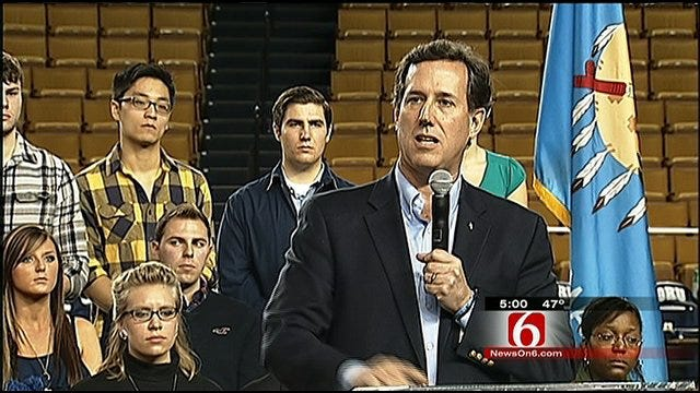 GOP Presidential Candidate Rick Santorum Campaigns In Tulsa