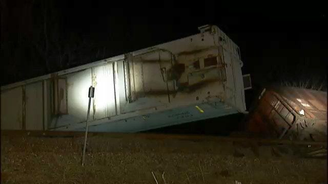 WEB EXTRA: Video From Scene Of Rogers County Train Derailment Early Tuesday
