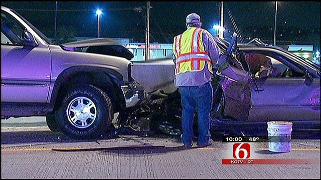 One Killed, Another Injured In Multi-Car Pileup On I-44 In Midtown Tulsa