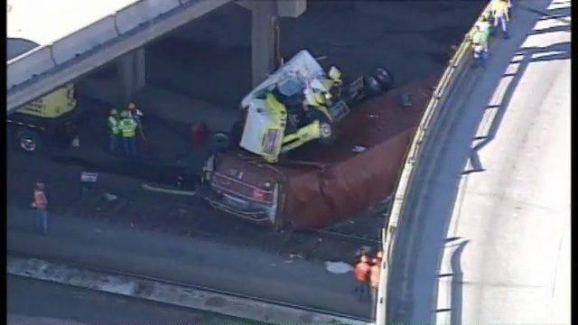 WEB EXTRA: SkyNews6 View Of Semi Truck Off Bridge