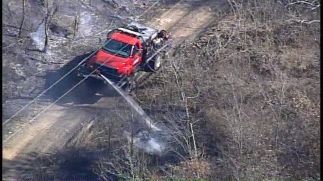 SkyNews6 Flies Over Fires As Firefighters Work To Put Them Out