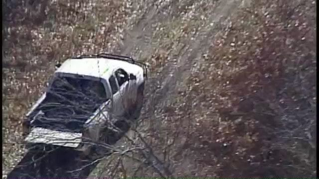 SkyNews6 Follows Pickup Truck Through Rogers County Wooded Area