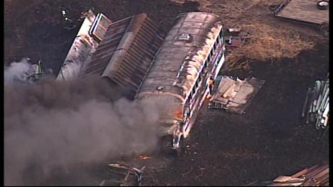 SkyNews6 Flies Over Jenks Salvage Yard Fire