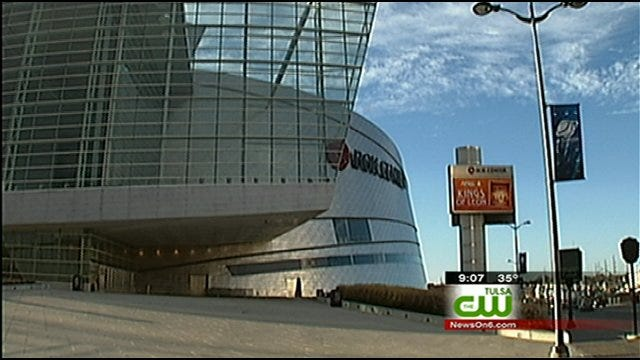 Final Preparations For NCAA Men's Basketball Tournament Underway In Downtown Tulsa