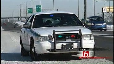 Traffic Slowed On Busy Tulsa Highway To Clear Ice And Snow