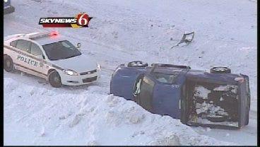 SkyNews 6: Video Of Flipped Vehicle On Broken Arrow Expressway