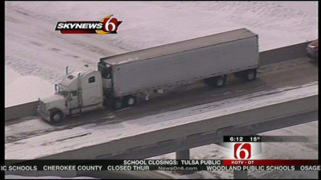 SkyNews6 Flies Over Snowbound Oklahoma Towns