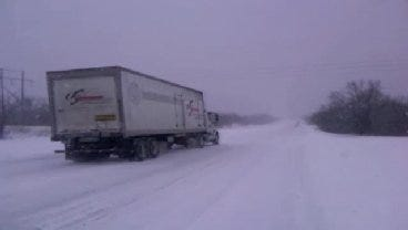 WEB EXTRA: Heavy Snowfall On U.S. Highway 75 in Okmulgee County