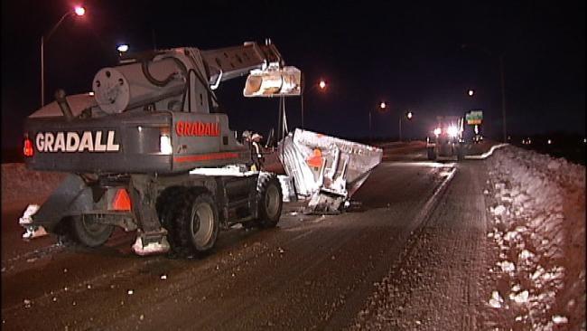 WEB EXTRA: Video Of Sand Truck Mishap On Tulsa Bridge