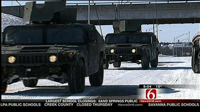 Oklahoma National Guard Rescuing Stranded Drivers