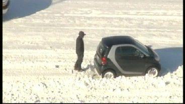 SkyNews 6: Smart Car Stuck On U.S. Highway 169 In Tulsa