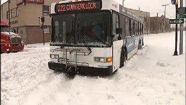 Snowstorm Traps Tulsa Transit Buses