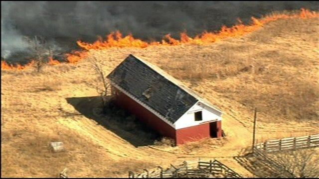 WEB EXTRA: SkyNews9 Flies Over Logan County Grass Fires