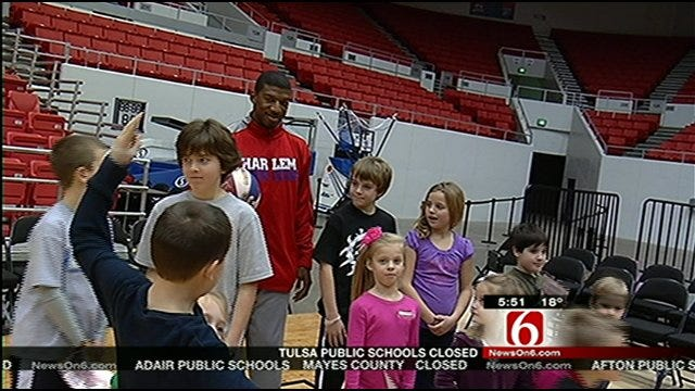 Harlem Globetrotters Show Off Their Tricks To Some Tulsa Kids