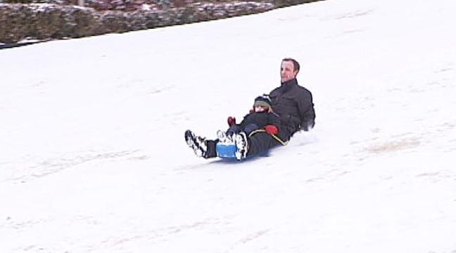Tulsa Snow Day Sledding At Harwelden Mansion
