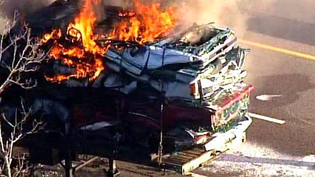 SkyNews 6 Flies Over Semi Truck Fire On I-44 Near Bristow
