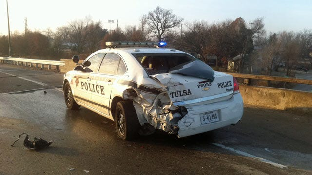 Ice Contributes To TPD Officer Involved Wreck